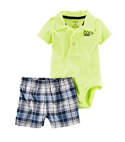 Carter's® Baby Boys 2-Piece Dude Polo And Plaid Shorts Set