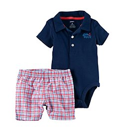 Carter's® Baby Boys 2-Piece Polo And Plaid Shorts Set