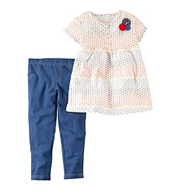 Carter's® Baby Girls' 2-Piece Polka Dot Top And Denim Leggings Set