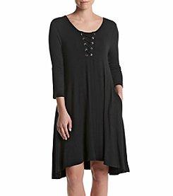 Nina Leonard® Lace Up Swing Dress
