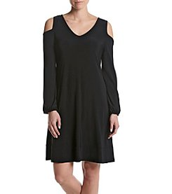 Nina Leonard® Cold Shoulder Shift Dress