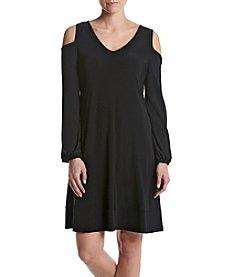 Nina Leonard® Cold Shoulder Shift Dress