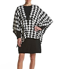 Nina Leonard® Houndstooth Poncho Dress