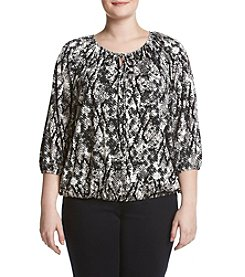 Relativity® Plus Size Printed Cold Shoulder Top
