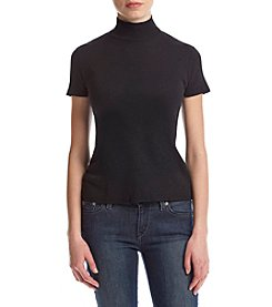 Splendid® Short Sleeve Mock Neck Top With Cutout Back