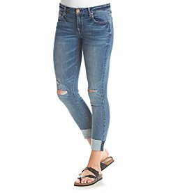 Crave Fame Knee Slit High Cuffed Skinny Jeans