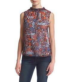 Hippie Laundry Print Ruffled Neck Top
