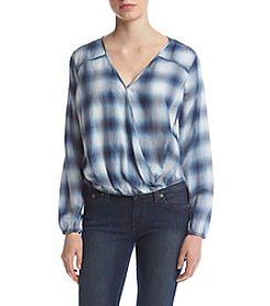 Hippie Laundry Twist Front Plaid Top