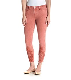 Hippie Laundry Crochet Trim Ankle Skinny Jeans