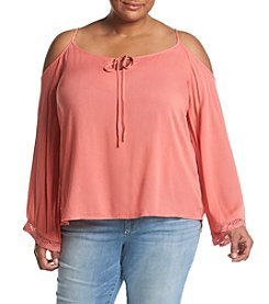 Hippie Laundry Plus Size Cold Shoulder Peasant Top