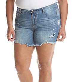 Hippie Laundry Plus Size Destructed Fray Hem Shorts