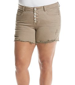 Hippie Laundry Plus Size Exposed Button Shorts