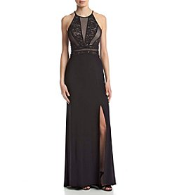 Morgan & Co.® Lace Halter Ity Gown