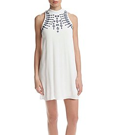 Speechless® Embroidered Mock Neck Dress