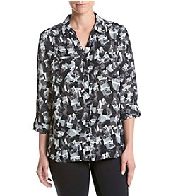 Relativity® Night Printed Utility Blouse