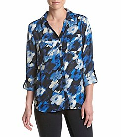 Relativity® Cosmic Printed Utility Blouse