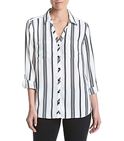 Relativity® Y-Neck Striped Utility Blouse