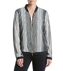 Relativity® Striped Bomber Jacket