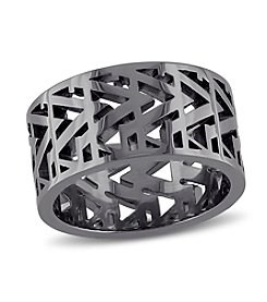 V1969 ITALIA Openwork Ring in Black Rhodium Plated Sterling Silver