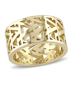 V1969 ITALIA Zig Zag Ring in Sterling Silver with 18k Yellow Gold-Plated Sterling Silver