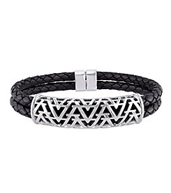 V1969 ITALIA Men's Bangle in Sterling Silver on Leather Cord