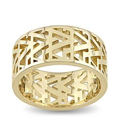 V1969 ITALIA Men's Openwork Ring in 18k Yellow Gold-Plated Sterling Silver