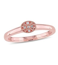 V1969 ITALIA White Sapphire Tapestry Ring in 18k Rose Gold-Plated Sterling Silver