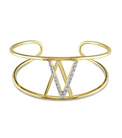 V1969 ITALIA White Sapphire Insignia Bangle in 18k Yellow Gold-Plated Sterling Silver