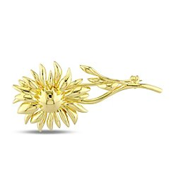 V1969 ITALIA Logo Flower Brooch in 18K Yellow Gold-Plated Sterling Silver