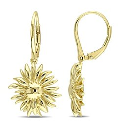 V1969 ITALIA Logo Flower Leverback Earrings in 18K Yellow Gold-Plated Sterling Silver
