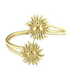 V1969 ITALIA Logo Flower Bangle in 18K Yellow Gold-Plated Sterling Silver