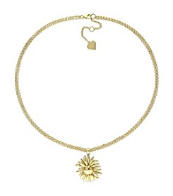 V1969 ITALIA Logo Flower Pendant Necklace in 18K Yellow Gold-Plated Sterling Silver