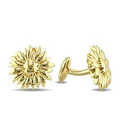 V1969 ITALIA Men's Logo Flower Cufflinks in 18K Yellow Gold-Plated Sterling Silver