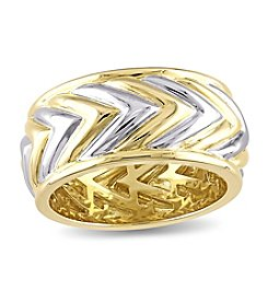 V1969 ITALIA Zig Zag Ring with 18k Yellow Gold-Plated Sterling Silver