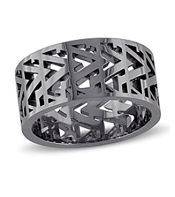 V1969 ITALIA Men's Openwork Ring in Black Rhodium-Plated Sterling Silver