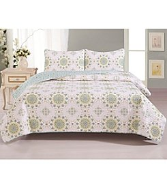 Home Fashions Abigail Collection 3-Piece Printed Quilt Set