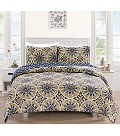 Home Fashions Delano Collection 3-Piece Printed Quilt Set