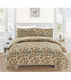 Home Fashions Miranda Collection 3-Piece Printed Quilt Set