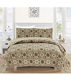 Home Fashions Samantha Collection 3-Piece Printed Quilt Set