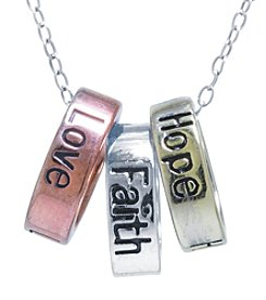 Athra Tricolor Plated Inspirational Rings Necklace