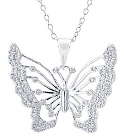 Athra Silver Plated Cubic Zirconia Butterfly Pendant