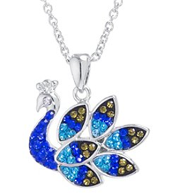 Athra Silver Plated Crystal Peacock Pendant