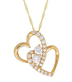 10K Yellow Gold Heart White Cubic Zirconia Heart Pendant