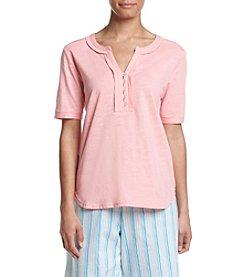 KN Karen Neuburger Short Sleeve Henley Pajama Top