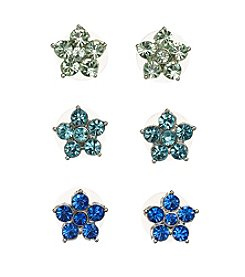 Studio Works® Silvertone And Multi Colored Flower Stud Trio Earring