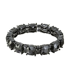 Relativity® Black Plated Prong Set Glass Stone Stretch Bracelet