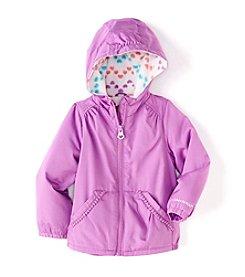 London Fog® Baby Girls' Solid Jacket With Pom Pom Trim