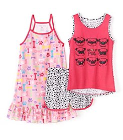 Komar Kids® Baby Girls' 3-Piece Group Pug Gown And Short Set