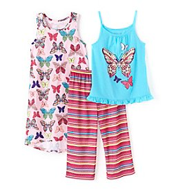 Komar Kids® Baby Girls' 3-Piece Butterfly Gown And Pants Set