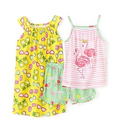 Komar Kids® Girls' 4-16 3-Piece Flamingo Gown And Short Set
